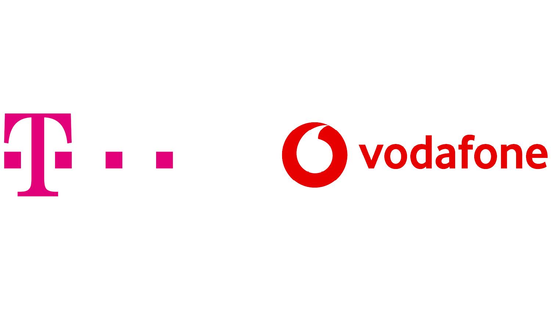 Logos Telekom und Vodafone