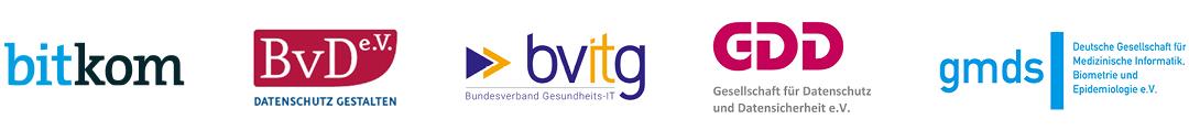 Logoleiste Veranstalter Fachtagung Datenschutz Health