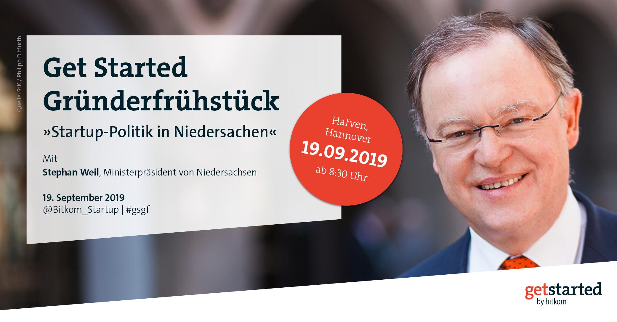 Titelbild zum Get Started Gründerfrühstück mit Niedersachsens Ministerpräsident Stephan Weil