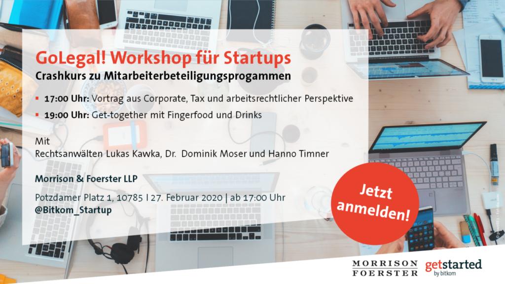 Go Legal Workshop für Startups zur Mitarbeiterbeteiligung